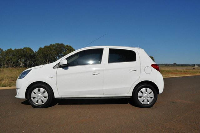 Used Mitsubishi Mirage LA ES Kingaroy, 2013 Mitsubishi Mirage LA ES White Continuous Variable Hatchback