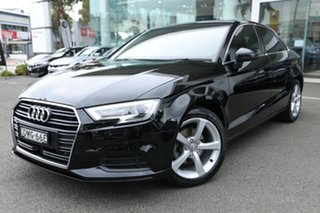 2016 Audi A3 8V MY16 1.4 TFSI Attraction CoD Brilliant Black 7 Speed Auto Direct Shift Sedan.