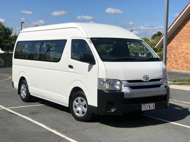 Used Toyota HiAce TRH223R Commuter High Roof Super LWB Chermside, 2016 Toyota HiAce TRH223R Commuter High Roof Super LWB White 6 Speed Automatic Bus