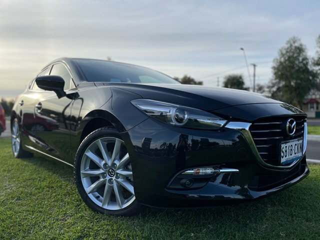Used Mazda 3 BN5438 SP25 SKYACTIV-Drive GT Hindmarsh, 2017 Mazda 3 BN5438 SP25 SKYACTIV-Drive GT Black 6 Speed Sports Automatic Hatchback