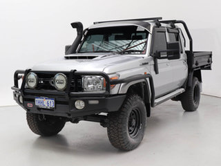 2018 Toyota Landcruiser VDJ79R GXL (4x4) Silver 5 Speed Manual Double Cab Chassis.