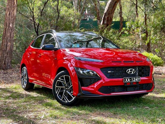 Demo Hyundai Kona Os.v4 MY21 N Line Premium TTR (AWD) Reynella, 2020 Hyundai Kona Os.v4 MY21 N Line Premium TTR (AWD) Ignite Flame & Black Roof 7 Speed