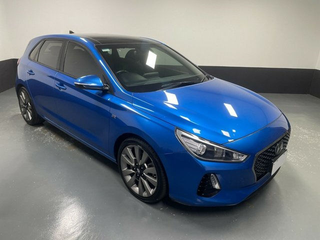 Used Hyundai i30 PD MY18 SR D-CT Cardiff, 2017 Hyundai i30 PD MY18 SR D-CT Marina Blue 7 Speed Sports Automatic Dual Clutch Hatchback
