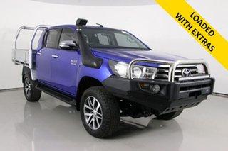 2015 Toyota Hilux GUN126R SR (4x4) Blue 6 Speed Manual Dual Cab Chassis.