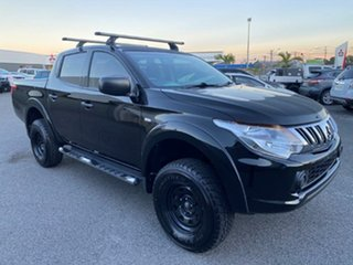 2015 Mitsubishi Triton MQ MY16 GLX Double Cab Black/dark Grey Cl 6 Speed Manual Utility.