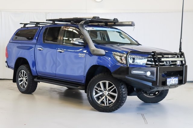 Used Toyota Hilux GUN126R SR5 Double Cab Wangara, 2016 Toyota Hilux GUN126R SR5 Double Cab Blue 6 Speed Manual Utility