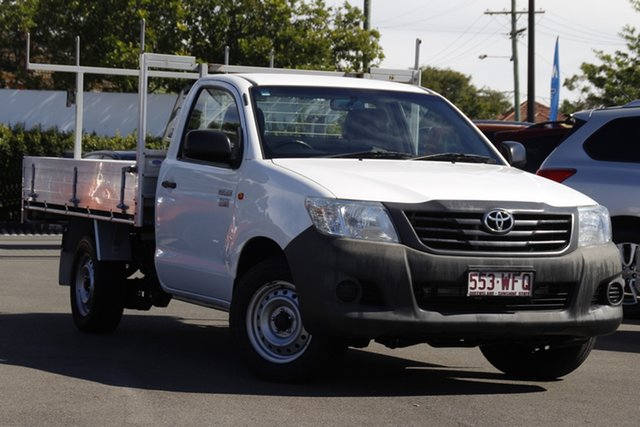 Used Toyota Hilux TGN16R MY12 Workmate 4x2 Mount Gravatt, 2013 Toyota Hilux TGN16R MY12 Workmate 4x2 White 5 Speed Manual Cab Chassis