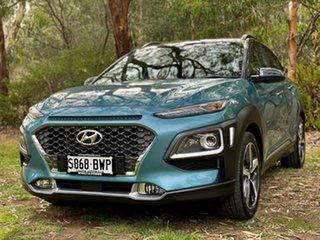 2017 Hyundai Kona OS MY18 Highlander 2WD Ceramic Blue + Dark 6 Speed Sports Automatic Wagon.