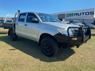 2012 Toyota Hilux KUN26R MY12 Workmate Double Cab Silver 5 Speed Manual Utility.