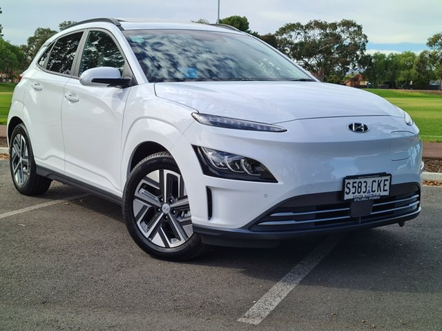 Demo Hyundai Kona Os.v4 MY21 electric Highlander Nailsworth, 2021 Hyundai Kona Os.v4 MY21 electric Highlander Atlas White 1 Speed Reduction Gear Wagon
