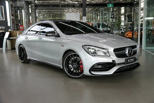 Used Mercedes-Benz CLA-Class C117 808MY CLA45 AMG SPEEDSHIFT DCT 4MATIC North Melbourne, 2017 Mercedes-Benz CLA-Class C117 808MY CLA45 AMG SPEEDSHIFT DCT 4MATIC Silver 7 Speed