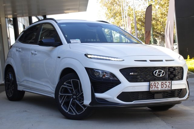Demo Hyundai Kona Os.v4 MY21 N-Line D-CT AWD Toowoomba, 2021 Hyundai Kona Os.v4 MY21 N-Line D-CT AWD Atlas White 7 Speed Sports Automatic Dual Clutch Wagon