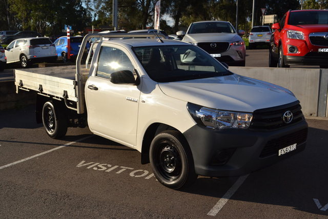 Used Toyota Hilux GUN122R Workmate 4x2 Maitland, 2018 Toyota Hilux GUN122R Workmate 4x2 White 5 Speed Manual Cab Chassis