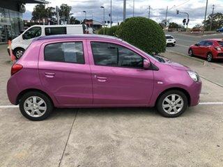 2013 Mitsubishi Mirage LA MY14 ES Pink 5 Speed Manual Hatchback.