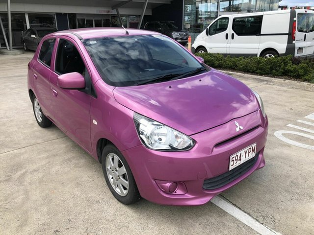 Used Mitsubishi Mirage LA MY14 ES Yamanto, 2013 Mitsubishi Mirage LA MY14 ES Pink 5 Speed Manual Hatchback