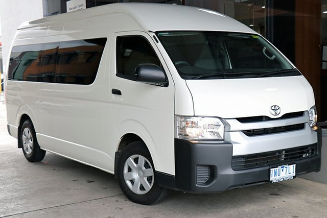 Pre-Owned Toyota HiAce KDH223R Commuter High Roof Super LWB Preston, 2018 Toyota HiAce KDH223R Commuter High Roof Super LWB White 4 Speed Automatic Bus