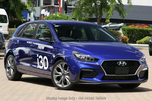 New Hyundai i30 PD.V4 MY21 N Line D-CT Hamilton, 2020 Hyundai i30 PD.V4 MY21 N Line D-CT Intense Blue 7 Speed Sports Automatic Dual Clutch Hatchback
