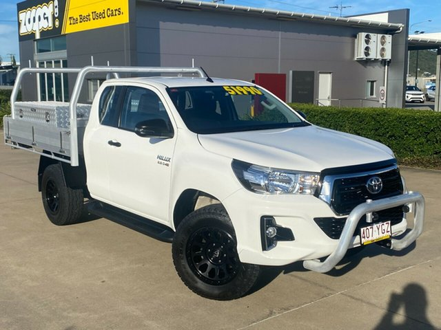 Used Toyota Hilux GUN126R SR Extra Cab Townsville, 2018 Toyota Hilux GUN126R SR Extra Cab White 6 Speed Sports Automatic Cab Chassis