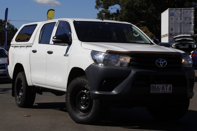 Used Toyota Hilux GUN125R Workmate Double Cab Toowoomba, 2016 Toyota Hilux GUN125R Workmate Double Cab White 6 Speed Sports Automatic Utility