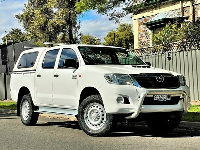 Used Toyota Hilux KUN26R MY14 SR Double Cab Hyde Park, 2014 Toyota Hilux KUN26R MY14 SR Double Cab White 5 Speed Manual Utility