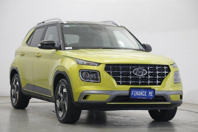 Used Hyundai Venue QX.2 MY20 Elite Victoria Park, 2020 Hyundai Venue QX.2 MY20 Elite Acid Yellow 6 Speed Automatic Wagon