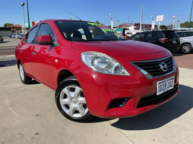Used Nissan Almera N17 ST Victoria Park, 2012 Nissan Almera N17 ST Red 5 Speed Manual Sedan