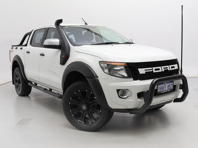 Used Ford Ranger PX XLS 2.2 (4x4), 2015 Ford Ranger PX XLS 2.2 (4x4) White 6 Speed Automatic Crew Cab Utility