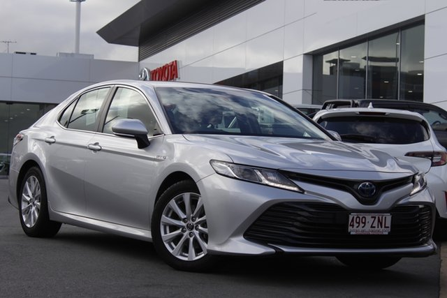 Pre-Owned Toyota Camry AXVH71R Ascent Woolloongabba, 2018 Toyota Camry AXVH71R Ascent Silver Pearl 6 Speed Constant Variable Sedan Hybrid