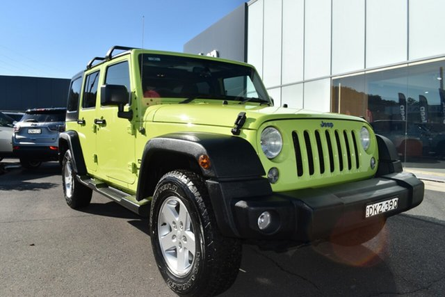 Used Jeep Wrangler JK MY17 Unlimited Sport Gosford, 2016 Jeep Wrangler JK MY17 Unlimited Sport Hypergreen Clear Coat 5 Speed Automatic Softtop