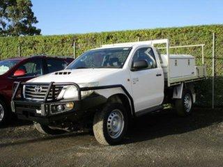 2013 Toyota Hilux KUN26R Turbo SR 4x4 White Manual Cab Chassis.