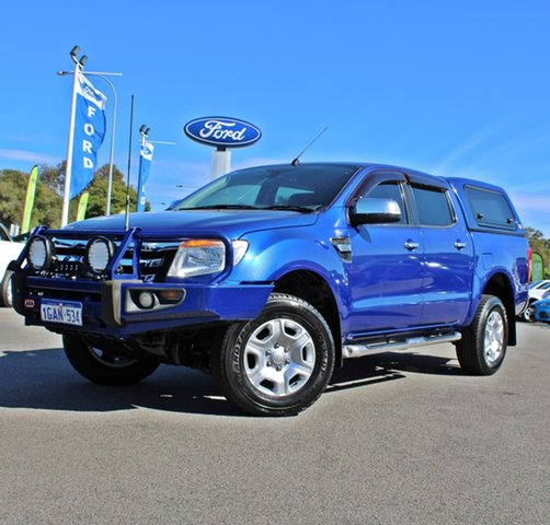 Used Ford Ranger PX XLT Double Cab 4x2 Hi-Rider Midland, 2012 Ford Ranger PX XLT Double Cab 4x2 Hi-Rider Blue 6 Speed Manual Utility