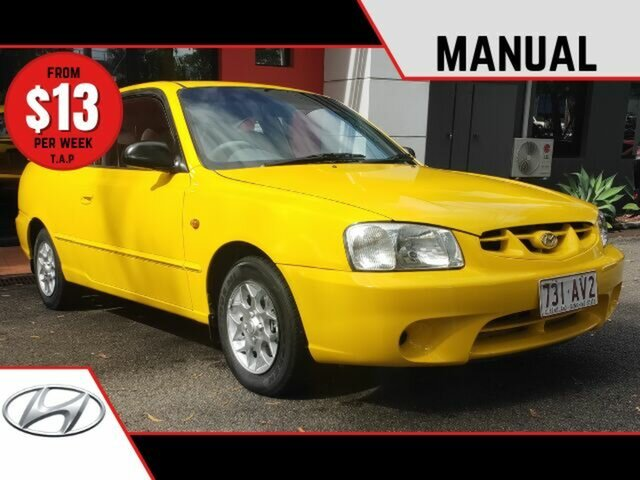 Used Hyundai Accent LC GL Ashmore, 2000 Hyundai Accent LC GL Yellow 5 Speed Manual Hatchback