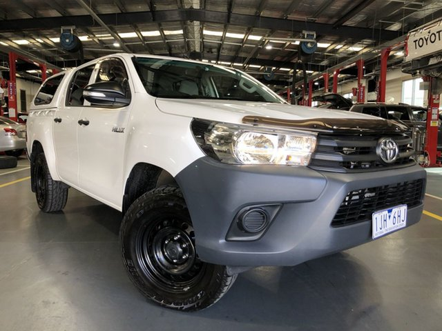 Pre-Owned Toyota Hilux GUN125R Workmate Double Cab Oakleigh, 2016 Toyota Hilux GUN125R Workmate Double Cab Glacier White 6 Speed Sports Automatic Utility