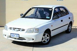 2002 Hyundai Accent LC GL White 5 Speed Manual Sedan.