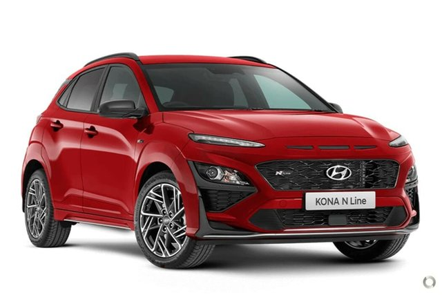 New Hyundai Kona Os.v4 MY21 N-Line D-CT AWD Nailsworth, 2021 Hyundai Kona Os.v4 MY21 N-Line D-CT AWD Ignite Flame 7 Speed Sports Automatic Dual Clutch Wagon