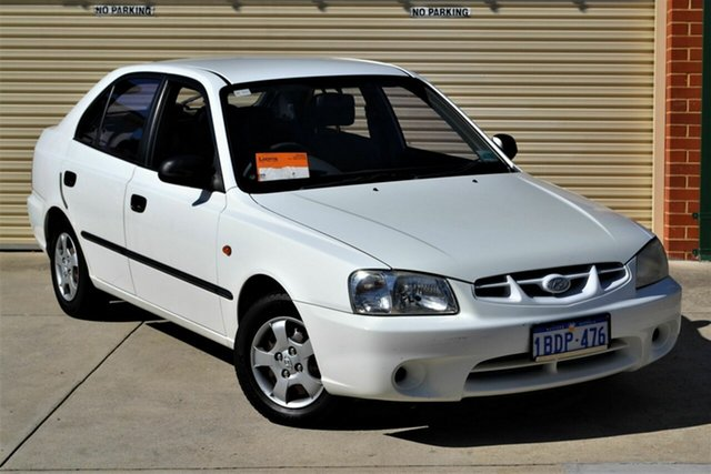 Used Hyundai Accent LC GL Mount Lawley, 2002 Hyundai Accent LC GL White 5 Speed Manual Sedan