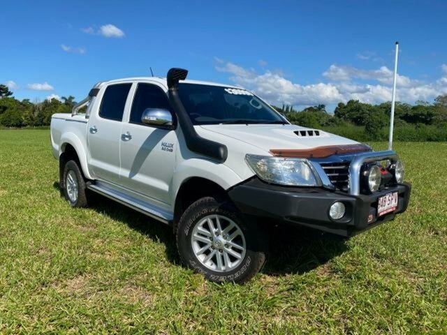 Pre-Owned Toyota Hilux KUN26R MY12 SR5 (4x4) Atherton, 2012 Toyota Hilux KUN26R MY12 SR5 (4x4) Glacier White 5 Speed Manual Dual Cab Pick-up