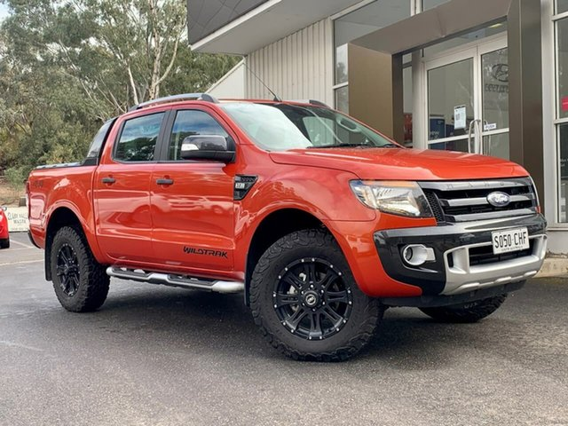 Used Ford Ranger PX Wildtrak Double Cab Clare, 2014 Ford Ranger PX Wildtrak Double Cab Orange 6 Speed Sports Automatic Utility