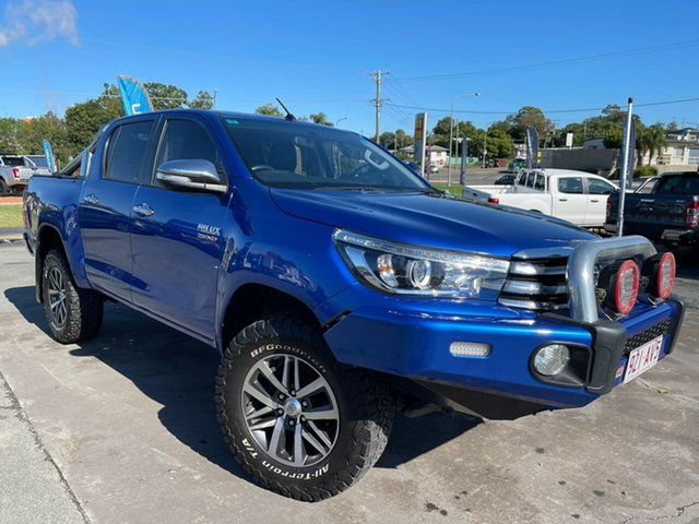 Used Toyota Hilux GUN126R SR5 Double Cab Gympie, 2016 Toyota Hilux GUN126R SR5 Double Cab Blue 6 Speed Sports Automatic Utility