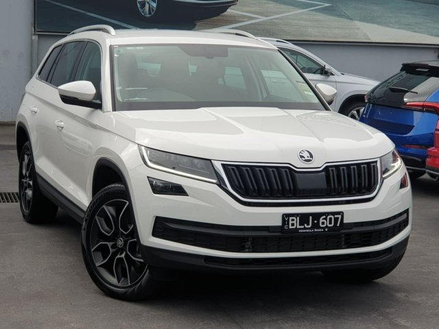 Demo Skoda Kodiaq NS MY21 132TSI DSG Seaford, 2020 Skoda Kodiaq NS MY21 132TSI DSG White 7 Speed Sports Automatic Dual Clutch Wagon