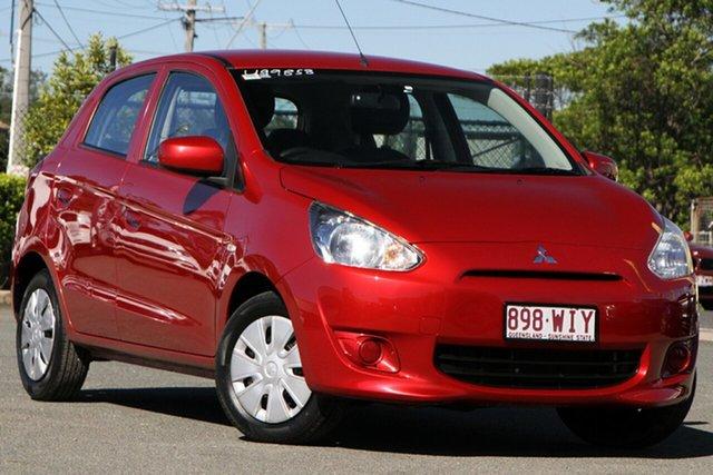 Used Mitsubishi Mirage LA MY14 ES Rocklea, 2014 Mitsubishi Mirage LA MY14 ES Planet Red 1 Speed Constant Variable Hatchback