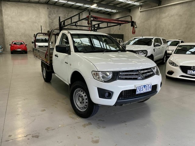 Used Mitsubishi Triton MN MY13 GLX 4x2 Coburg North, 2013 Mitsubishi Triton MN MY13 GLX 4x2 White 4 Speed Sports Automatic Cab Chassis