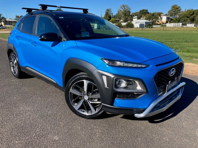 Pre-Owned Hyundai Kona OS MY18 Highlander 2WD South Grafton, 2018 Hyundai Kona OS MY18 Highlander 2WD Blue Lagoon 6 Speed Sports Automatic Wagon