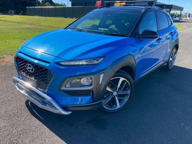 Pre-Owned Hyundai Kona OS MY18 Highlander 2WD South Grafton, 2018 Hyundai Kona OS MY18 Highlander 2WD Blue Lagoon 6 Speed Sports Automatic Wagon