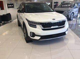 2021 Kia Seltos SP2 MY21 GT-Line DCT AWD Clear White & Cherry Black Roof 7 Speed.