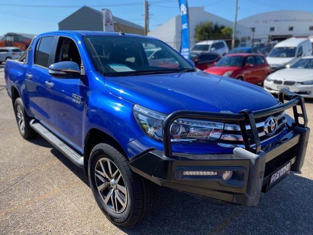 Used Toyota Hilux GUN126R SR5 Double Cab Wickham, 2015 Toyota Hilux GUN126R SR5 Double Cab Blue 6 Speed Manual Utility