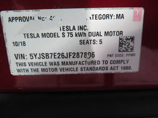 2018 Tesla Model S MY18 75D Red 1 Speed Automatic Hatchback