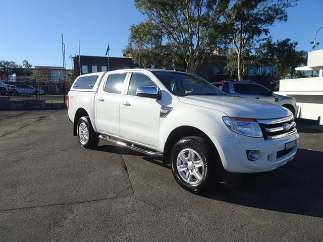 Used Ford Ranger PX XLT Double Cab Nowra, 2015 Ford Ranger PX XLT Double Cab Cool White 6 Speed Automatic Utility