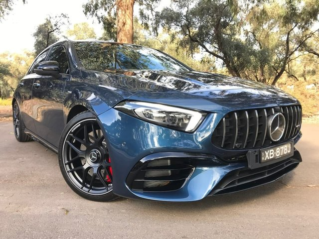 Used Mercedes-Benz A-Class W177 800+050MY A45 AMG SPEEDSHIFT DCT 4MATIC+ S Adelaide, 2020 Mercedes-Benz A-Class W177 800+050MY A45 AMG SPEEDSHIFT DCT 4MATIC+ S Blue 8 Speed