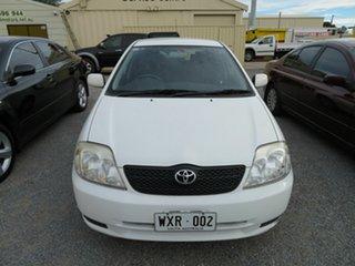 2002 Toyota Corolla White 5 Speed Manual Hatchback.